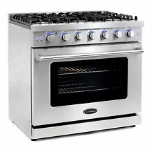 Cosmo 36 In 6 Cubic Ft Gas Range Convection Oven w  6 Italian Burners  Open Box