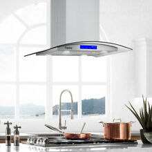 36  Stainless Steel Island Mount Range Hood 900CFM 4 LED Lamps LCD Touch Control