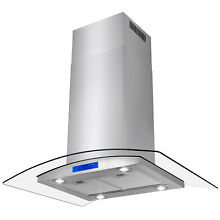 36  Island Mount Modern Stainless Steel Range Hood Kitchen Stove Vent LED Canopy