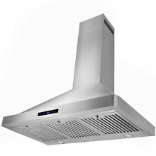 36  Europe Style Stainless Steel Kitchen Wall Mount Range Hood LED Touch Control