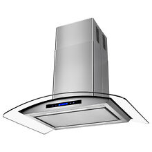 36  Island Mount Tempered Glass Stainless Steel Kitchen Range Hood Grease Filter