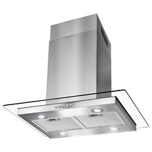 30  Modern Island Canopy Mount Range Hood Flat Glass Push Panel Stainless Steel