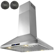 30  Island Mount Stainless Steel Range Hood Touch Screen Display Ductless