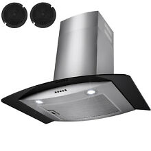 30  Stainless Steel Wall Mount Range Hood Black Tempered Glass Kitchen Vents