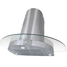 30  European Style Wall Mount Stainless Steel Vent Button Control Range Hood