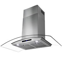 36  Stainless Steel Wall Mount Range Hood with Tempered Glass Touch Panel Fan