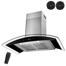 New 30  Stainless Steel Ductless Wall Mount Range Hood Glass Remote Modern Glass
