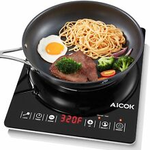 Aicok Portable Induction Cooktop  Countertop Burner with Timer  15 Power Levels