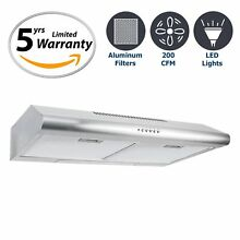 Cosmo 30 in  200 CFM Ducted Under Cabinet Stainless Steel Range Hood with Push
