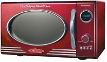 0 9 cu  ft  Retro Digital Programmable Countertop Kitchen Microwave Oven Red