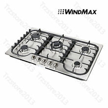 US Seller   WindMax 34   Stainless Steel 5 Burner Built In Stoves Gas Cooktops