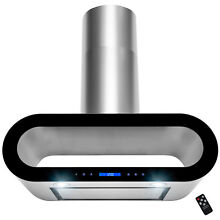 36  Wall Mount Stainless Steel Black Trim Touch Panel Kitchen Range Hood Cooking