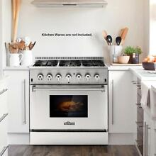 36  6 Burner Stainless Steel Gas Range Electric Oven Dual Fuel 5 2 Cu  Ft T2F2