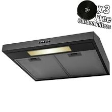 24  Under Cabinet Black Stainless Steel Push Panel Kitchen Range Hood w  Filters