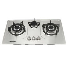 30  Stainless Steel 3 Burners Built In 3000W Cooktop NG Gas Household Cooker