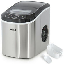 Deluxe 26 lbs Day  2 Size Portable Countertop Ice Maker Machine  Stainless Steel