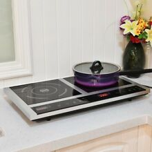 Portable Electric Induction Cooker Double Burner Cooktop Digital Display Black