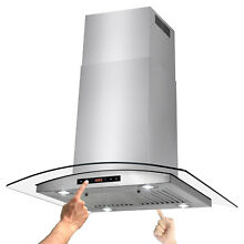 30  Island Mount Stainless Steel Tempered Glass Kitchen Cooking Fan Range Hood
