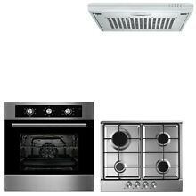 Cookology 60cm Built in Electric Fan Oven  Gas Hob   Extractor Hood Pack