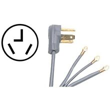 Certified Appliance Accessories R  90 1028 3 Wire Closed Eyelet 30 Amp Dryer Cor