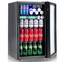 Beverage Refrigerator and Cooler Mini Fridge with Glass Door for Small Drinks