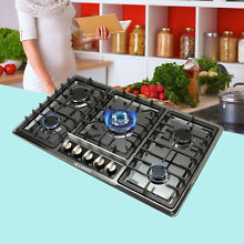 NG LPG Cooktop 34  Black Titanium Steel 5 Burners Gas Stoves Hob Fixed Cooktop
