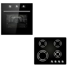 Cookology 60cm Black Electric Fan Forced Oven   Built in Gas on Glass Hob Pack