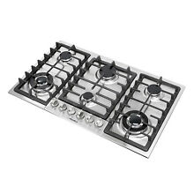 34  6 Burner Built In Stainless Steel Stove NG LPG Gas Hob Cooktop Cooker   USA