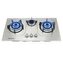 30  Stainless Steel 3 Burners Built In Cooktop NG LPG Gas Cooker Cooktops Silver