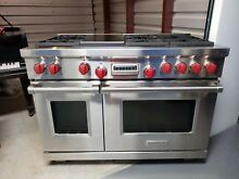 Wolf DF486G 48  Professional Dual Fuel Range Stove 6 Burners   Griddle