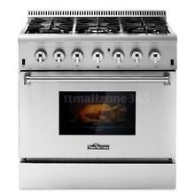 THOR KITCHEN 36inch Dual Fuel Range 6 Burner Gas Range Electric Oven Home U4Q6