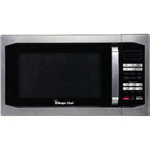 Magic Chef 1 6 Cu  Ft  1100W Countertop Microwave Oven with Stylish Door Handle