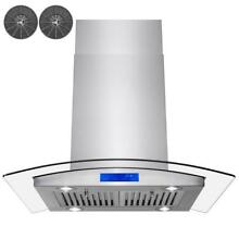 AKDY 30 In Convertible Kitchen Island Range Hood Exhaust Stainless Steel Glass