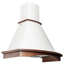 35  Renato Series Wall Mount Range Hood White with Stained Wood Trim 600 CFM