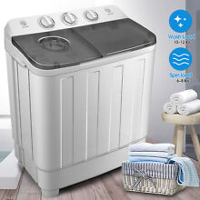 17lbs Portable Washing Machine Compact Mini Twin Tub Laundry  Washer Spin Dryer