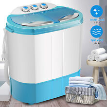 9 9lbs Washing Machine Portable Mini Twin Tub Compact Washer Spin Dryer Blue