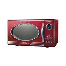 Nostalgia Electrics Microwave Oven Countertop 0 9 cu  ft  800 Watt Retro Red