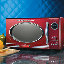 Retro Microwave Oven 12 Settings Dial Control Digital Clock LED Display  Red