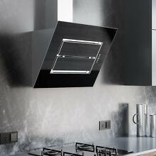 30  Scappi Series Stainless Steel Wall Mount Range Hood Black Glass 600  CFM