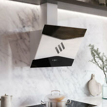 30  Tanzi Series Stainless Steel Wall Mount Range Hood White Black Glass 600  CF