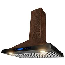 30  Wall Mount Range Hood Embossed Copper 4 Speed Touch Control Fan for Kitchen