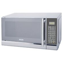 Small Countertop Microwave Stainless Steel Silver Compact Space Office Kitchen