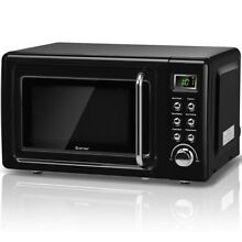 0 7 Cubic Feet 700 Watt Glass Turntable Retro Countertop Microwave Oven Kitchen