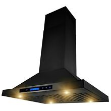 30  Island Mount Black Painted Finish Kitchen Range Hood 4 Speed Touch Control