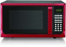 1 1 Cu FT Microwave Oven Kitchen 1000 watt LED Child Safe 10 power levels RED