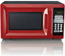 Countertop 0 7 Cu  Ft  Red Microwave Oven 700W Digital LED Kitchen Compact Small