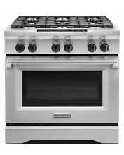 KitchenAid KDRS467VSS 36  Dual Fuel Convection Range  Stainless Steel   NEW