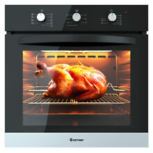 24  Electric Built In Single Wall Convection Oven Tempered Glass Buttons Control