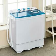 26 LBS Compact Washing Machine Mini Twin Tub Laundry Spinner Dryer w  Drain Pump