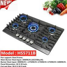 30  Built in Cooktop Stove LPG NG Gas Hob w 5 Burners  Countertop Black Titanium